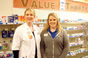 Pharmacy manager Kristi Wanner (left) and store manager, Shannon Fernholz (right).  Photo by Scott Thoma
