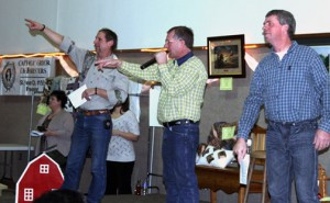 Dan Welle (left), Dan Winter (middle) and Jim Hoppe (right), helped auction off a bunch of items at Sacred Heart School in Freeport earlier this year.