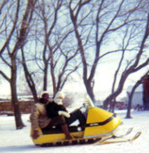 Rachel's sisters try out the new Ski-Doo snowmobile in 1969.