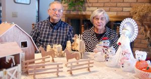 Wally and Sharon Lutz with some of the items they recently designed and made in their Montevideo home. Photo by Scott Thoma