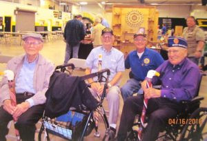 World War II veterans receive honor canes from the CMWA: (left to right) Edwin Albrecht, of Wabasha, Max Wenker, of Melrose, Curt Hutchens, of St. Cloud and Earl Hoppenrath, of Maple Grove. Contributed photo
