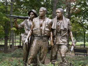Vietnam Memorial Soldiers by Frederick Hart. One of the most visited monuments in Washington, D.C. is Hart's heroic bronze statue The Three Soldiers, Vietnam Veterans Memorial, dedicated by President Ronald Reagan in 1984. Photo from Library of Congress, by Carol M. Highsmith.