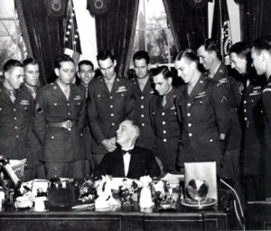 President Franklin Delano Roosevelt congratulated the Rangers on their successful rescue of American prisoners in the Philippines. Lee Provencher is the fourth person from the left and smiling at the camera. Contributed photo