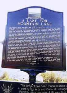 Sign located at the lake north of town, tells the story of the new lake.  Photo Josh Stoesz