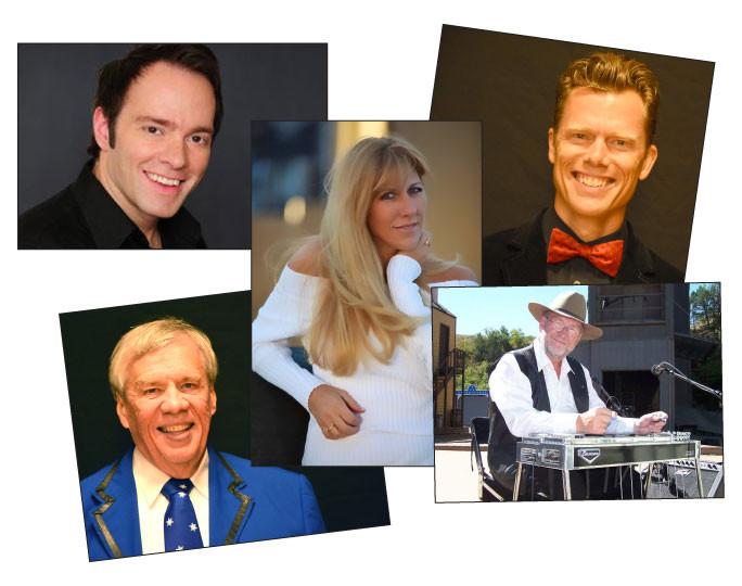 The entertainers in A Magical Medora Christmas include (clockwise from upper left corner): Job Christenson, Emily Walter, Jared Mason, Roger Rettig and Bill Sorensen.