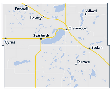 Map of Pope County, in Minnesota