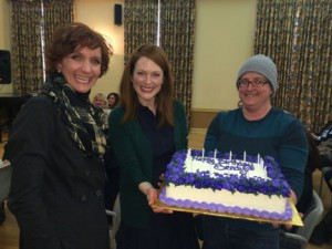 Actress Julianne Moore and film crew members presented Sandy Oltz with a birthday cake on set for her 50th birthday.  Photo contributed by the Alzheimer's Association.