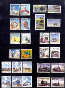 This sheet shows 26 of the Botswana stamps using Peter Lodoen's portraits, including the ones of the Pope (upper left). Photo by Bill Vossler