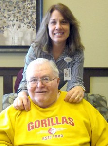 Brenda White of Northern Lakes Senior Living, along with resident Bob Lewis. Bob and his wife, Artie, moved to Northern Lakes Senior Living in December. He has been happy with his choice to come to Northern Lakes.  Photo by Cathy Nelson