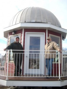 Marv Jenson asked Grant Hanson (left) and Allen Braaten (right) if they could build a gazebo and attach it to the top of a silo at his farm near Kensington. The gazebo was assembled last year and installed last month.  Photo by Rachel Barduson