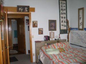 Bedroom in Phyllis Jastram's energy efficient home.