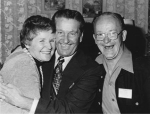 Wally, on the right, chuckles as Lawrence Welk hugs Wally's wife, Alice. Welk is one of many celebrities Wally has gotten to know. Photo contributed.