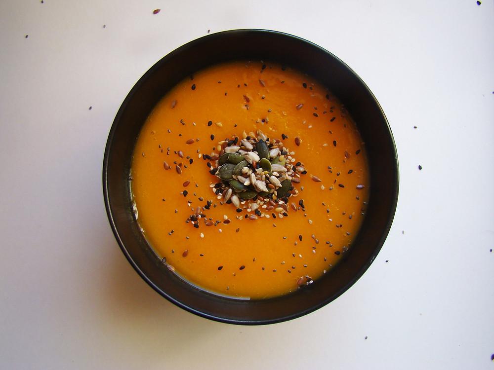 Crema de hortalizas con semillas