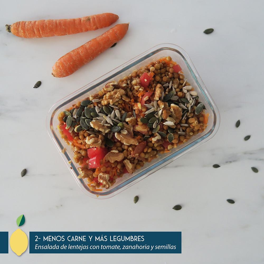 Ensalada de lentejas con tomate y zanahoria