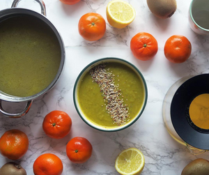 Caldo de verduras convertido en puré