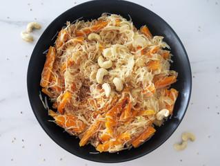 Rice noodles con calabaza al curry