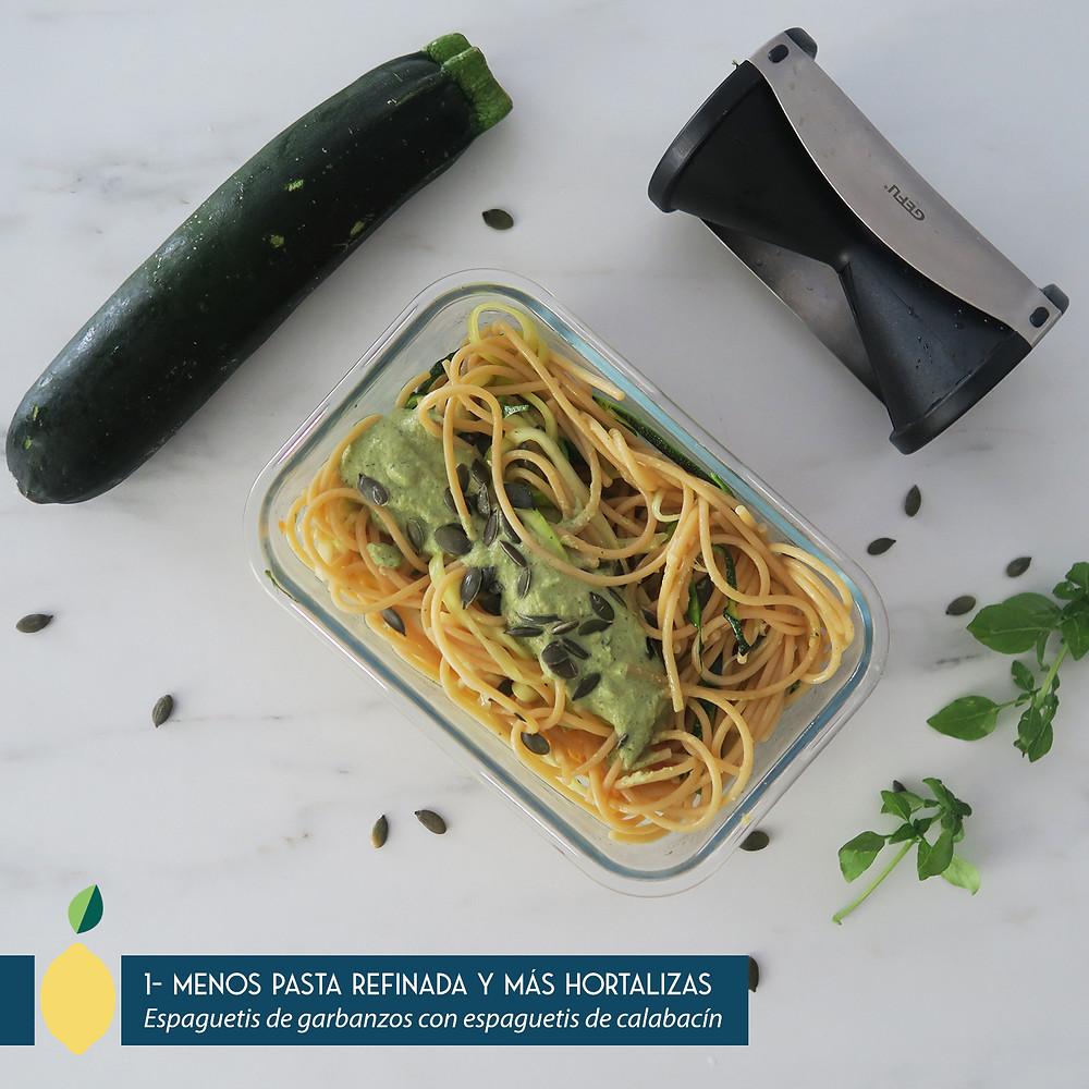 Espaguetis de legumbres con espaguetis de calabacín