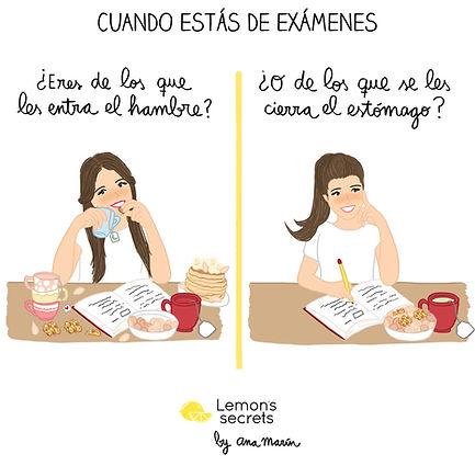 Cuando estás de exámenes - Ilustración AnaMarín para Lemon's Secrets