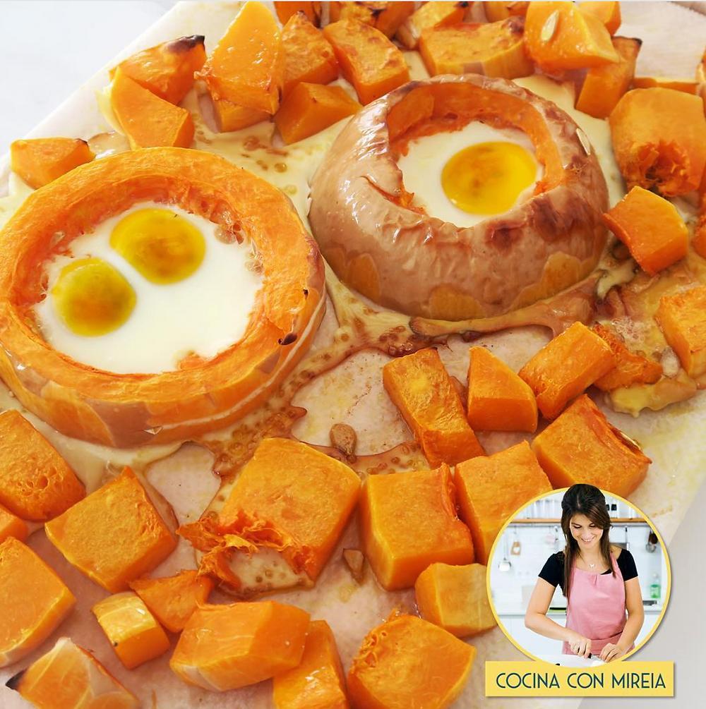 Calabaza al horno con huevo