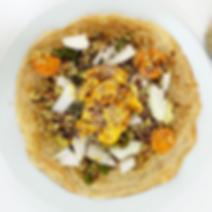 Mejicano con fajitas / creps salteado de hortalizas arroz y pollo
