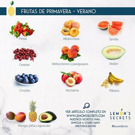 Frutas de Primavera- Verano | Lemon' Secrets | Infografía