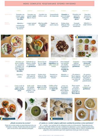Alimentos básicos en una alimentación vegetariana y menú de ejemplo Otoño-Invierno