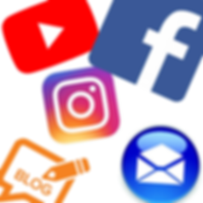 Graphic showing various social media icons