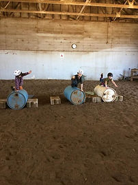 Beginning vaulting on our barrel horses!