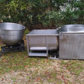 Cooker, receiving bin and serving bin