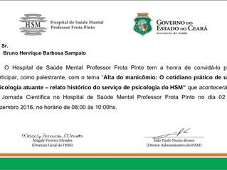 VI Jornada Científica no Hospital de Saúde Mental Professor Frota Pinto