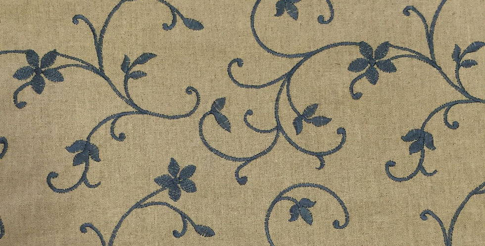 Blue Embroidered Vining Fabric
