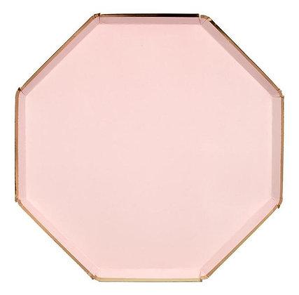 Plato octagonal rosa grande