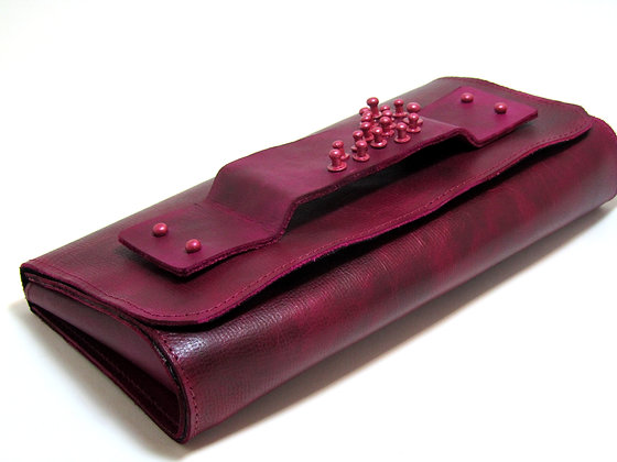 Fuchsia leather clutch