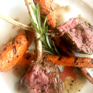 Grilled Lamb Chops with chared carrots