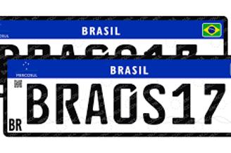 Placa Mercosul - Automóvel (Par)