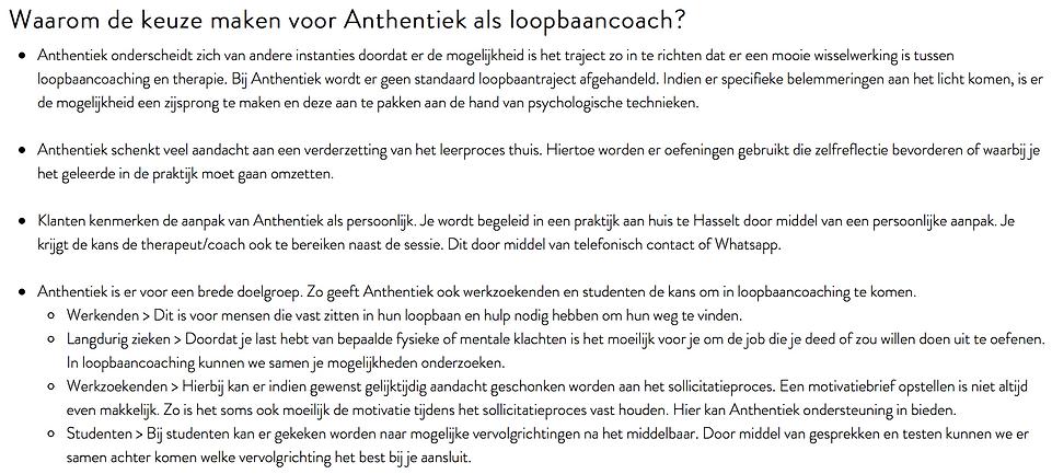 Therapeut Anthentiek helpt ieder met een loopbaanbegeleidingstraject op maat. Dit in haar praktijk te Hasselt (Limburg)