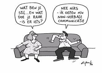 Cartoon rond communicatie en assertiviteit voor de pagina rond assertiviteit van Anthentiek - de expert in geweldloze communicatie en assertiviteit te Hasselt (Limburg, Sint-Truiden)