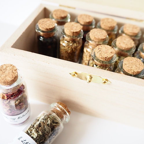 Herbal Box with Glass Vials (15 Herbs)