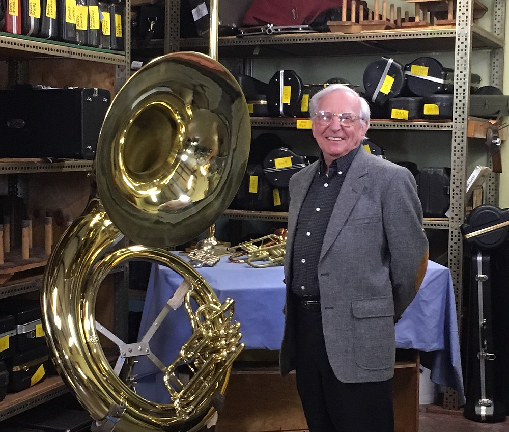 Ted Goeden poses with his fully restored tuba originally purchased in 1948
