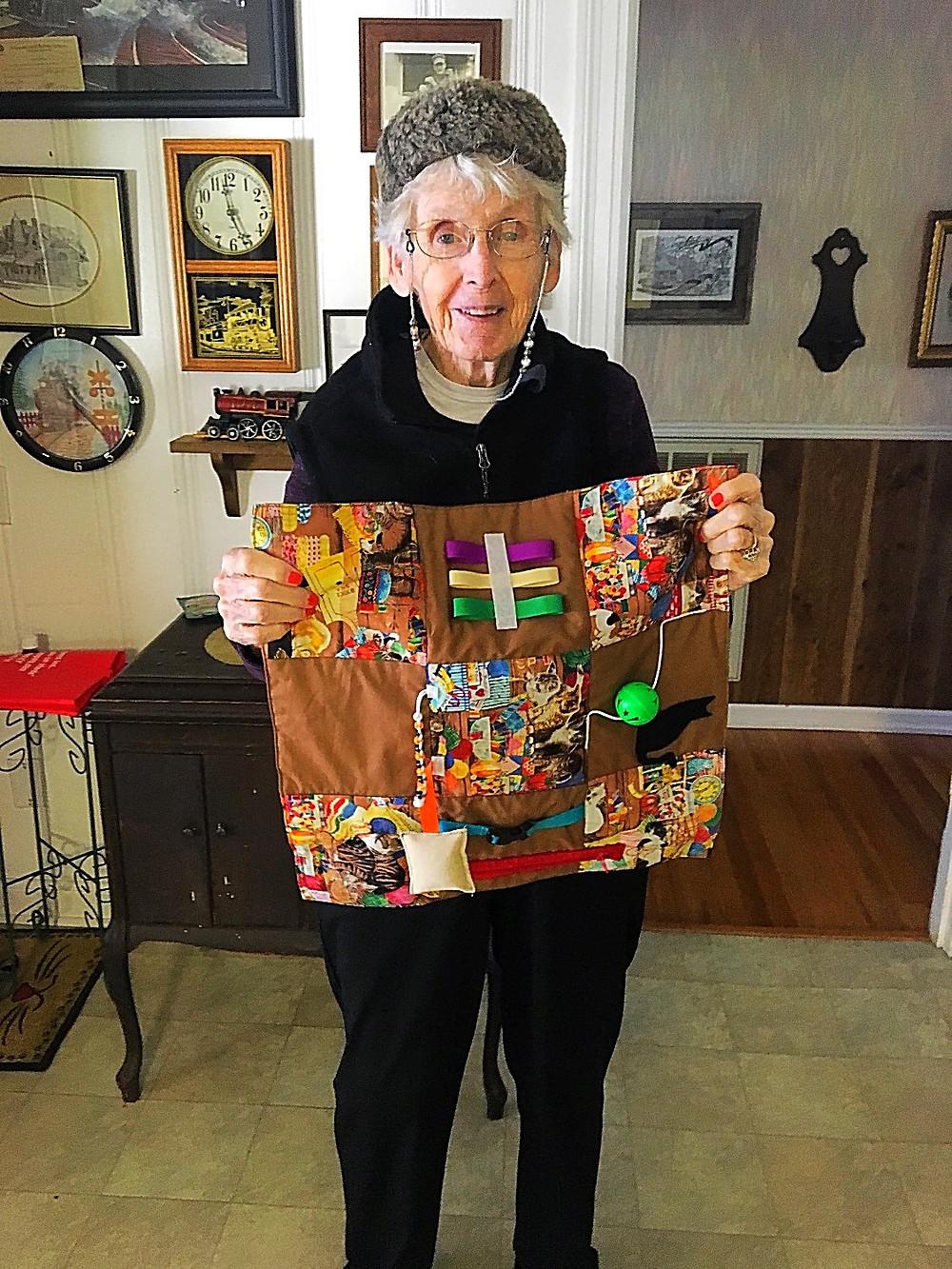 Sweet Alzheimer's Client with Fidget Quilt