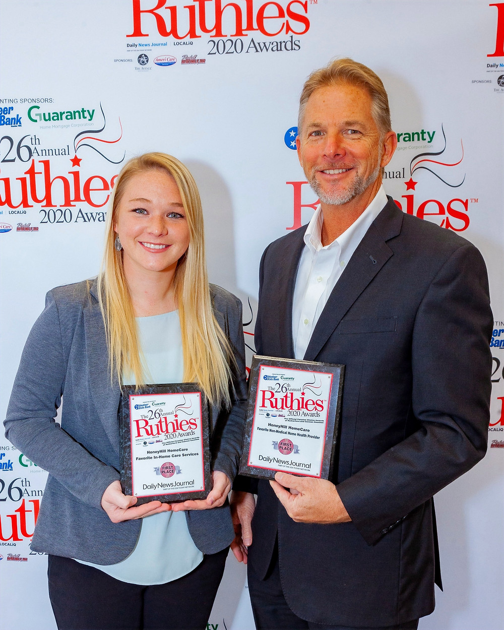 Mike & Becca Cutter Accepting 2 Ruthies Awards for HoneyHill HomeCare