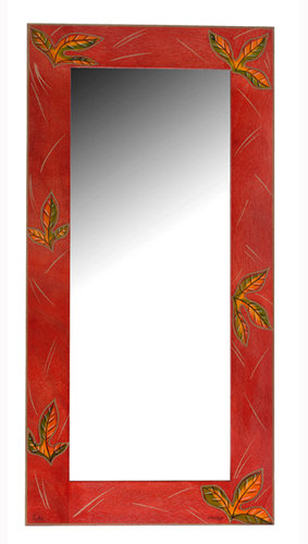 Large Mirror- Red Leaves
