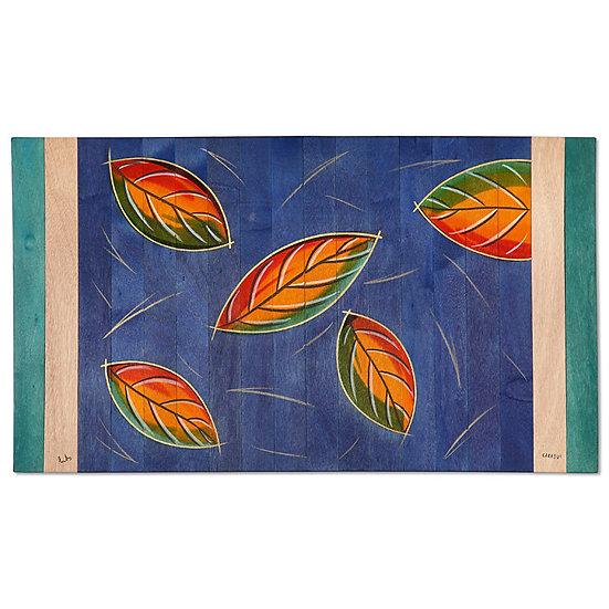 Small Carpet- Blue Leaves