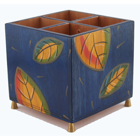 Cutlery holder Blue Leaves