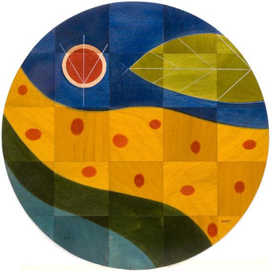 Round floor mat Yellow Path