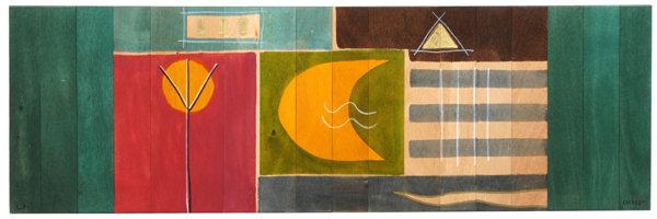 Long table runner- Yellow Moon