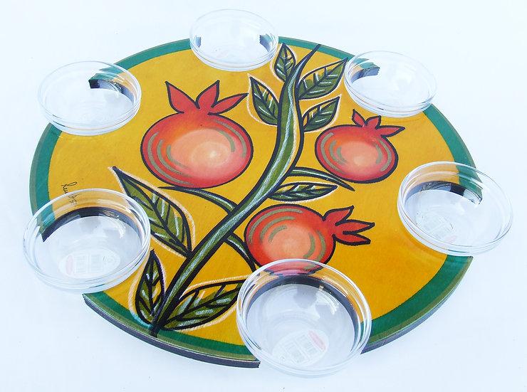 Pesach Seder Plate . Lazy Susan Climbing Pomegranate