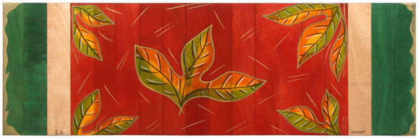 Long table runner- Red Leaves