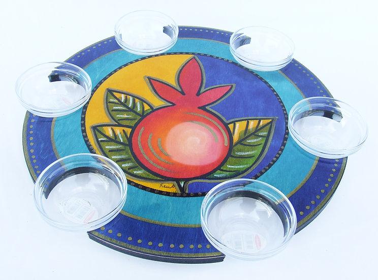 Pesach Seder Plate . Lazy Susan Pomegranate