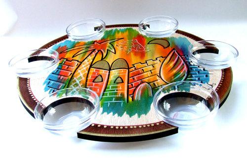 Pesach Seder Plate . Lazy Susan Colorful Jerusalem